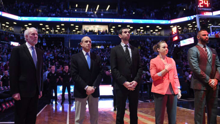 NEW YORK, NY - JANUARY 17: The coaching staff of the San Antonio Spurs lines up before the game against the Brooklyn Nets at Barclays Center on January 17, 2018 (Photo by Matteo Marchi/Getty Images)