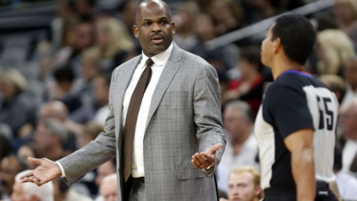 SAN ANTONIO,TX - JANUARY 21: Head coach Nate McMillan of the Indiana Pacers questions a call during game against the San Antonio Spurs at AT&T Center on January 21, 2018 in San Antonio, Texas. NOTE TO USER: User expressly acknowledges and agrees that , by downloading and or using this photograph, User is consenting to the terms and conditions of the Getty Images License Agreement. (Photo by Ronald Cortes/Getty Images)