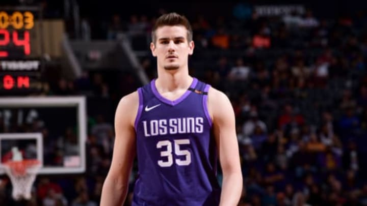 PHOENIX, AZ – JANUARY 26: Dragan Bender #35 of the Phoenix Suns looks on during the game against the New York Knicks on January 26, 2018 at Talking Stick Resort Arena in Phoenix, Arizona. NOTE TO USER: User expressly acknowledges and agrees that, by downloading and or using this photograph, user is consenting to the terms and conditions of the Getty Images License Agreement. Mandatory Copyright Notice: Copyright 2018 NBAE (Photo by Michael Gonzales/NBAE via Getty Images)