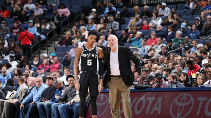 MEMPHIS, TN – JANUARY 24: Gregg Popovich and Dejounte Murray #5 of the San Antonio Spurs on January 24, 2018, at FedExForum in Memphis, Tennessee. (Photo by Joe Murphy/NBAE via Getty Images)