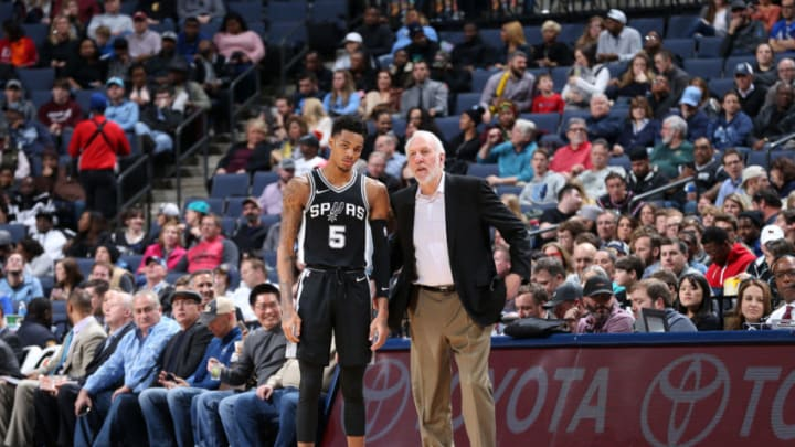 MEMPHIS, TN - JANUARY 24: Gregg Popovich and Dejounte Murray #5 of the San Antonio Spurs on January 24, 2018 at FedExForum in Memphis, Tennessee. (Photo by Joe Murphy/NBAE via Getty Images)