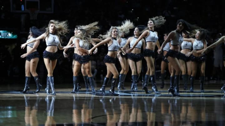 SAN ANTONIO,TX - FEBRUARY 28 : The San Antonio Silver Dancers perform during game against the New Orleans Pelicans at AT&T Center on February 28, 2018 in San Antonio, Texas. NOTE TO USER: User expressly acknowledges and agrees that , by downloading and or using this photograph, User is consenting to the terms and conditions of the Getty Images License Agreement. (Photo by Ronald Cortes/Getty Images)