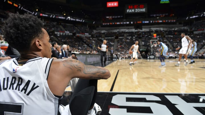 SAN ANTONIO, TX – MARCH 5: Dejounte Murray #5 of the San Antonio Spurs looks on during the game against the Memphis Grizzlies (Photos by Mark Sobhani/NBAE via Getty Images)