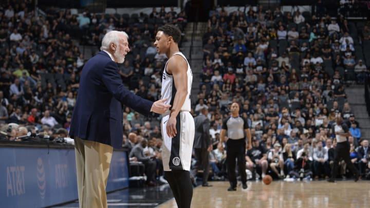 SAN ANTONIO, TX – MARCH 5: Head Coach Gregg Popovich of the San Antonio Spurs speaks to Bryn Forbes #11 of the San Antonio Spurs (Photos by Mark Sobhani/NBAE via Getty Images)