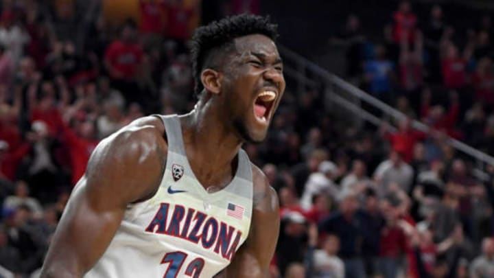 LAS VEGAS, NV – MARCH 10: Deandre Ayton #13 of the Arizona Wildcats reacts after dunking against the USC Trojans during the championship game of the Pac-12 basketball tournament at T-Mobile Arena on March 10, 2018 in Las Vegas, Nevada. The Wildcats won 75-61. (Photo by Ethan Miller/Getty Images)