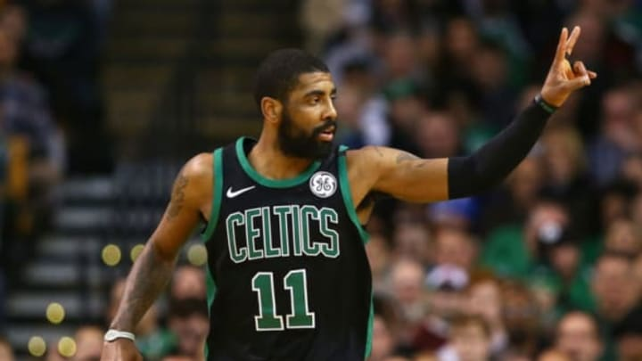 BOSTON, MA – MARCH 11: Kyrie Irving #11 of the Boston Celtics gestures during a game against the Indiana Pacers at TD Garden on March 11, 2018 in Boston, Massachusetts. NOTE TO USER: User expressly acknowledges and agrees that, by downloading and or using this photograph, User is consenting to the terms and conditions of the Getty Images License Agreement. (Photo by Adam Glanzman/Getty Images)