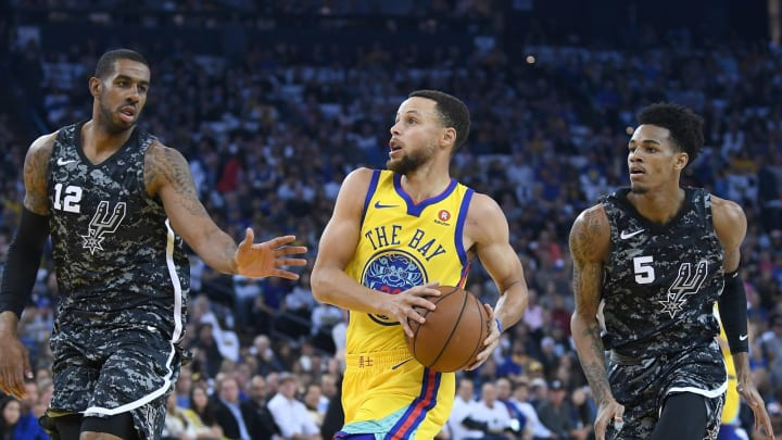 LaMarcus Aldridge Stephen Curry Dejounte Murray (Photo by Thearon W. Henderson/Getty Images)