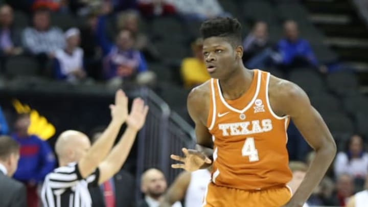 KANSAS CITY, MO – MARCH 08: Texas Longhorns forward Mohamed Bamba (4) after hitting a three at the buzzer in the first half of a quarterfinal game in the Big 12 Basketball Championship between the Texas Longhorns and Texas Tech Red Raiders on March 8, 2018 at Sprint Center in Kansas City, MO. (Photo by Scott Winters/Icon Sportswire via Getty Images)