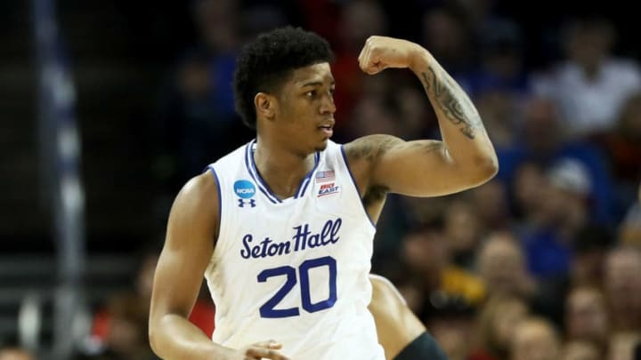 WICHITA, KS - MARCH 15: Desi Rodriguez #20 of the Seton Hall Pirates reacts in the first half against the North Carolina State Wolfpack during the first round of the 2018 NCAA Tournament at INTRUST Arena on March 15, 2018 in Wichita, Kansas. (Photo by Jamie Squire/Getty Images)