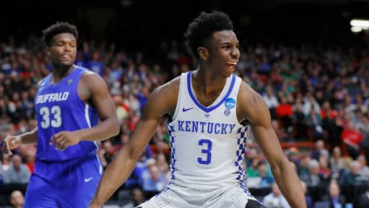 BOISE, ID – MARCH 17: Hamidou Diallo #3 of the Kentucky Wildcats celebrates after dunking against the Buffalo Bulls during the second half in the second round of the 2018 NCAA Men's Basketball Tournament at Taco Bell Arena on March 17, 2018 in Boise, Idaho. (Photo by Kevin C. Cox/Getty Images)