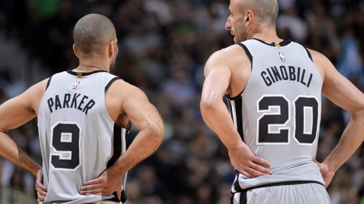 SAN ANTONIO, TX – MARCH 17: Tony Parker #9 and Manu Ginobili #20 of the San Antonio Spurs during the game against the Minnesota Timberwolves on March 17, 2018 at the AT&T Center in San Antonio, Texas. (Photos by Mark Sobhani/NBAE via Getty Images)