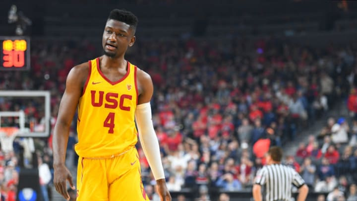 LAS VEGAS, NV - MARCH 10: USC forward Chimezie Metu (4) looks on during the championship game of the mens Pac-12 Tournament between the USC Trojans and the Arizona Wildcats on March 10, 2018, at the T-Mobile Arena in Las Vegas, NV. (Photo by Brian Rothmuller/Icon Sportswire via Getty Images)