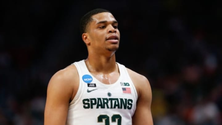 NBA, DETROIT, MI – MARCH 18: Michigan State Spartans guard Miles Bridges (22) looks on during the NCAA Division I Men's Championship Second Round basketball game between the Syracuse Orange and the Michigan State Spartans on March 18, 2018 at Little Caesars Arena in Detroit, Michigan. Syracuse defeated Michigan State 55-53. (Photo by Scott W. Grau/Icon Sportswire via Getty Images)