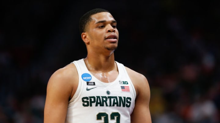 DETROIT, MI - MARCH 18: Michigan State Spartans guard Miles Bridges (22) looks on during the NCAA Division I Men's Championship Second Round basketball game between the Syracuse Orange and the Michigan State Spartans on March 18, 2018 at Little Caesars Arena in Detroit, Michigan. Syracuse defeated Michigan State 55-53. (Photo by Scott W. Grau/Icon Sportswire via Getty Images)