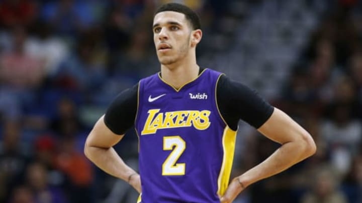 NEW ORLEANS, LA – MARCH 22: Lonzo Ball #2 of the Los Angeles Lakers reacts during a game against the New Orleans Pelicans at the Smoothie King Center on March 22, 2018 in New Orleans, Louisiana. NOTE TO USER: User expressly acknowledges and agrees that, by downloading and or using this photograph, User is consenting to the terms and conditions of the Getty Images License Agreement. (Photo by Jonathan Bachman/Getty Images)