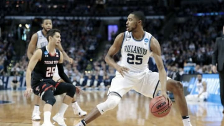 BOSTON, MA – MARCH 25: Villanova Wildcats guard Mikal Bridges (25) during an Elite Eight matchup between the Villanova Wildcats and the Texas Tech Red Raiders on March 25, 2018, at TD Garden in Boston, Massachusetts. The Wildcats defeated the Red Raiders 71-59. (Photo by Fred Kfoury III/Icon Sportswire via Getty Images)