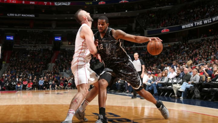WASHINGTON, DC -¬MARCH 27: LaMarcus Aldridge #12 of the San Antonio Spurs drives to the basket against the Washington Wizards on March 27, 2018 at Capital One Arena in Washington, DC. NOTE TO USER: User expressly acknowledges and agrees that, by downloading and/or using this photograph, user is consenting to the terms and conditions of the Getty Images License Agreement. Mandatory Copyright Notice: Copyright 2018 NBAE (Photo by Ned Dishman/NBAE via Getty Images)