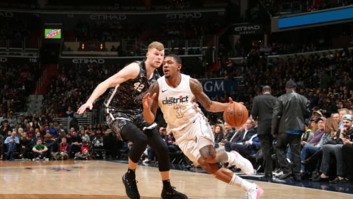 WASHINGTON, DC -¬MARCH 27: Bradley Beal #3 of the Washington Wizards handles the ball against the San Antonio Spurs on March 27, 2018 at Capital One Arena in Washington, DC. NOTE TO USER: User expressly acknowledges and agrees that, by downloading and/or using this photograph, user is consenting to the terms and conditions of the Getty Images License Agreement. Mandatory Copyright Notice: Copyright 2018 NBAE (Photo by Ned Dishman/NBAE via Getty Images)