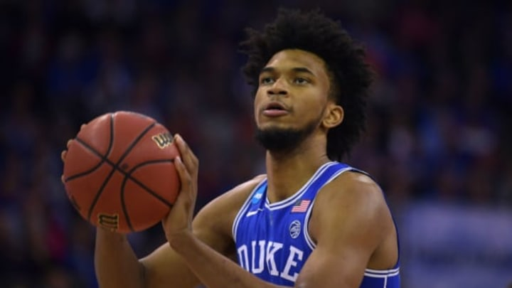 OMAHA, NE – MARCH 25: Marvin Bagley III #35 of the Duke Blue Devils concentrates at the free throw line against the Kansas Jayhawks during the 2018 NCAA Men's Basketball Tournament Midwest Regional Final at CenturyLink Center on March 25, 2018 in Omaha, Nebraska. (Photo by Lance King/Getty Images)