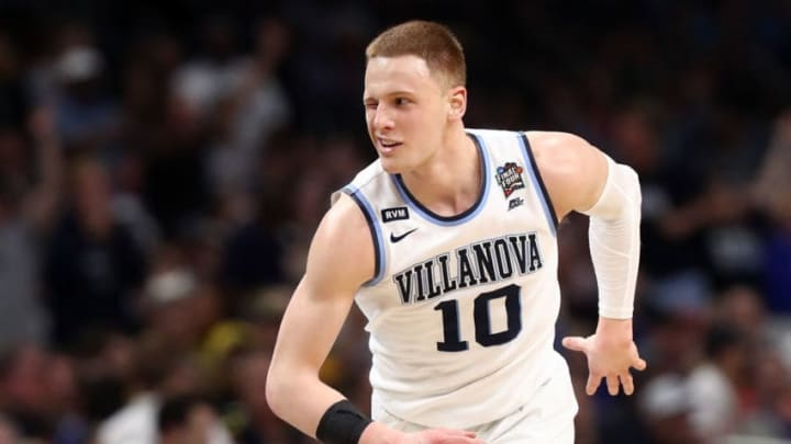 SAN ANTONIO, TX - APRIL 02: Donte DiVincenzo #10 of the Villanova Wildcats reacts after a shot in the second half against the Michigan Wolverines during the 2018 NCAA Men's Final Four National Championship game at the Alamodome on April 2, 2018 in San Antonio, Texas. (Photo by Ronald Martinez/Getty Images)