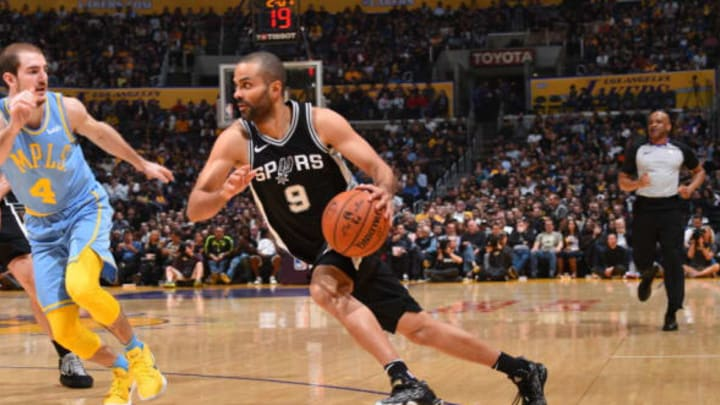 LOS ANGELES, CA – APRIL 4: Tony Parker #9 of the San Antonio Spurs handles the ball against the Los Angeles Lakers on April 4, 2018 at STAPLES Center in Los Angeles, California. NOTE TO USER: User expressly acknowledges and agrees that, by downloading and/or using this Photograph, user is consenting to the terms and conditions of the Getty Images License Agreement. Mandatory Copyright Notice: Copyright 2018 NBAE (Photo by Andrew D. Bernstein/NBAE via Getty Images)