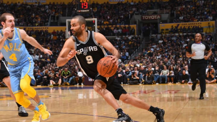 LOS ANGELES, CA - APRIL 4: Tony Parker #9 of the San Antonio Spurs handles the ball against the Los Angeles Lakers on April 4, 2018 at STAPLES Center in Los Angeles, California. NOTE TO USER: User expressly acknowledges and agrees that, by downloading and/or using this Photograph, user is consenting to the terms and conditions of the Getty Images License Agreement. Mandatory Copyright Notice: Copyright 2018 NBAE (Photo by Andrew D. Bernstein/NBAE via Getty Images)