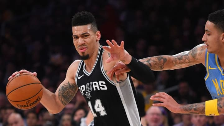 LOS ANGELES, CA - APRIL 04: Kyle Kuzma #0 of the Los Angeles Lakers guards Danny Green #14 of the San Antonio Spurs as he drives to the basket in the second half of the game at Staples Center on April 4, 2018 in Los Angeles, California. NOTE TO USER: User expressly acknowledges and agrees that, by downloading and or using this photograph, User is consenting to the terms and conditions of the Getty Images License Agreement. (Photo by Jayne Kamin-Oncea/Getty Images)