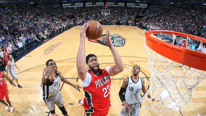 NEW ORLEANS, LA – APRIL 11: Anthony Davis #23 of the New Orleans Pelicans goes to the basket against the San Antonio Spurs on April 11, 2018 at Smoothie King Center in New Orleans, Louisiana. (Photo by Layne Murdoch Jr./NBAE via Getty Images)