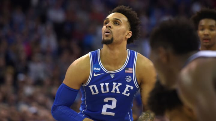 OMAHA, NE - MARCH 25: Gary Trent, Jr. #2 of the Duke Blue Devils concentrates at the free throw line against the Kansas Jayhawks during the 2018 NCAA Men's Basketball Tournament Midwest Regional Final at CenturyLink Center on March 25, 2018 in Omaha, Nebraska. (Photo by Lance King/Getty Images)
