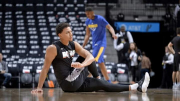 SAN ANTONIO, TX – APRIL 19: Bryn Forbes #11 of the San Antonio Spurs warms up before Game Three of the Western Conference Quarterfinals against the Golden State Warriors on April 19, 2018 at the AT&T Center in San Antonio, Texas. NOTE TO USER: User expressly acknowledges and agrees that, by downloading and/or using this photograph, user is consenting to the terms and conditions of the Getty Images License Agreement. Mandatory Copyright Notice: Copyright 2018 NBAE (Photos by Mark Sobhani/NBAE via Getty Images)