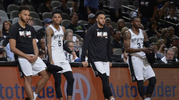 SAN ANTONIO, TX - APRIL 19: Kyle Anderson #1, Dejounte Murray #5, Derrick White #4, and Brandon Paul #3 of the San Antonio Spurs during Game Three of the Western Conference Quarterfinals against the Golden State Warriors in the 2018 NBA Playoffs on April 19, 2018 at the AT&T Center in San Antonio, Texas. NOTE TO USER: User expressly acknowledges and agrees that, by downloading and/or using this photograph, user is consenting to the terms and conditions of the Getty Images License Agreement. Mandatory Copyright Notice: Copyright 2018 NBAE (Photos by Mark Sobhani/NBAE via Getty Images)