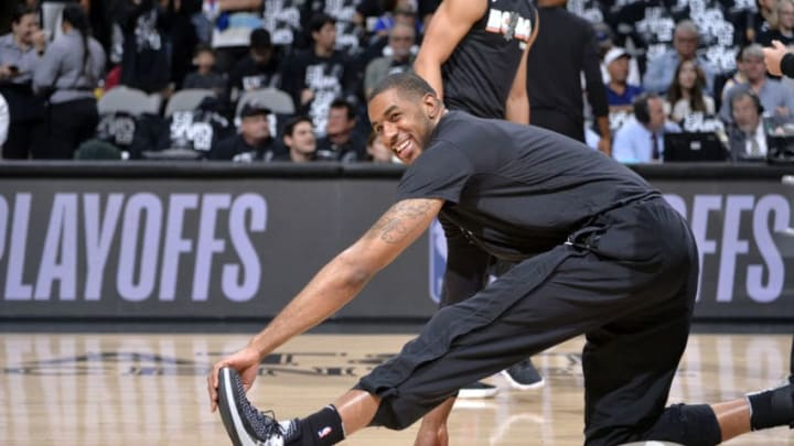SAN ANTONIO, TX - APRIL 22: LaMarcus Aldridge #12 of the San Antonio Spurs warms up before Game Four of the Western Conference Quarterfinals against the Golden State Warriors during the 2018 NBA Playoffs on April 22, 2018 at the AT&T Center in San Antonio, Texas. NOTE TO USER: User expressly acknowledges and agrees that, by downloading and/or using this photograph, user is consenting to the terms and conditions of the Getty Images License Agreement. Mandatory Copyright Notice: Copyright 2018 NBAE (Photos by Mark Sobhani/NBAE via Getty Images)