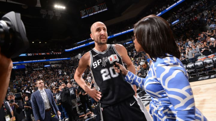 SAN ANTONIO, TX - APRIL 22: Manu Ginobili #20 of the San Antonio Spurs speaks with media after the game against the Golden State Warriors in Game Four of Round One of the 2018 NBA Playoffs on April 22, 2018 at the AT&T Center in San Antonio, Texas. NOTE TO USER: User expressly acknowledges and agrees that, by downloading and or using this photograph, user is consenting to the terms and conditions of the Getty Images License Agreement. Mandatory Copyright Notice: Copyright 2018 NBAE (Photos by Noah Graham/NBAE via Getty Images)