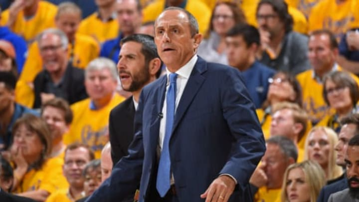 OAKLAND, CA – APRIL 24: Assistant Coach Ettore Messina of the San Antonio Spurs reacts to a play during the game against the Warriors (Photo by Andrew D. Bernstein/NBAE via Getty Images)
