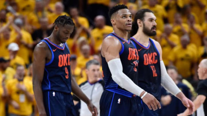 SALT LAKE CITY, UT – APRIL 27: Jerami Grant #9 , Russell Westbrook #0 and Steven Adams #12 of the Oklahoma City Thunder walk to the sidelines late in the second half during Game Six of Round One of the 2018 NBA Playoffs against the Utah Jazz at Vivint Smart Home Arena on April 27, 2018 in Salt Lake City, Utah. The Jazz beat the Thunder 96-91 to advance to the second round of the NBA Playoffs. NOTE TO USER: User expressly acknowledges and agrees that, by downloading and or using this photograph, User is consenting to the terms and conditions of the Getty Images License Agreement. (Photo by Gene Sweeney Jr./Getty Images)