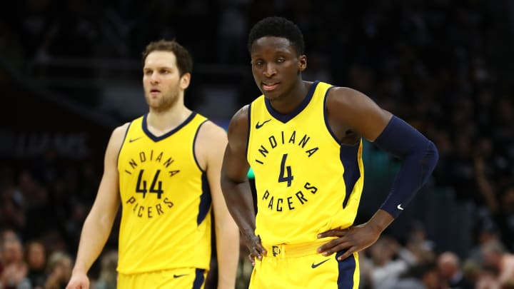 CLEVELAND, OH – APRIL 29: Victor Oladipo #4 and Bojan Bogdanovic #44 of the Indiana Pacers look on while playing the Cleveland Cavaliers (Photo by Gregory Shamus/Getty Images)
