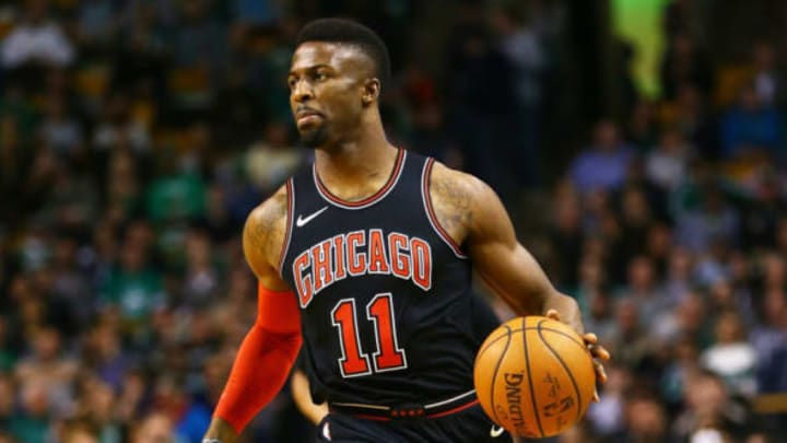 BOSTON, MA – APRIL 6: David Nwaba #11 of the Chicago Bulls dribbles during a game against the Boston Celtics at TD Garden on April 6, 2018 in Boston, Massachusetts. NOTE TO USER: User expressly acknowledges and agrees that, by downloading and or using this photograph, User is consenting to the terms and conditions of the Getty Images License Agreement. (Photo by Adam Glanzman/Getty Images) *** Local Caption ***
