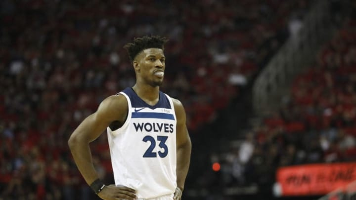 HOUSTON, TX - APRIL 25: Jimmy Butler #23 of the Minnesota Timberwolves reacts in the second half during Game Five of the first round of the 2018 NBA Playoffs against the Houston Rockets at Toyota Center on April 25, 2018 in Houston, Texas. NOTE TO USER: User expressly acknowledges and agrees that, by downloading and or using this photograph, User is consenting to the terms and conditions of the Getty Images License Agreement. (Photo by Tim Warner/Getty Images)