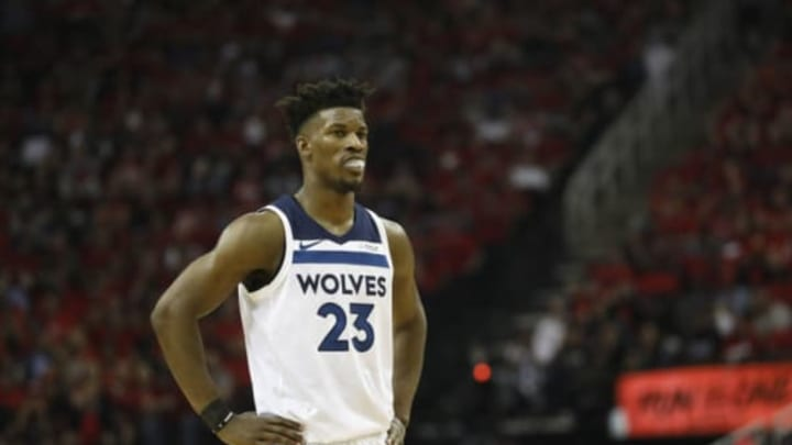 HOUSTON, TX – APRIL 25: Jimmy Butler #23 of the Minnesota Timberwolves reacts in the second half during Game Five of the first round of the 2018 NBA Playoffs against the Houston Rockets at Toyota Center on April 25, 2018 in Houston, Texas. NOTE TO USER: User expressly acknowledges and agrees that, by downloading and or using this photograph, User is consenting to the terms and conditions of the Getty Images License Agreement. (Photo by Tim Warner/Getty Images)