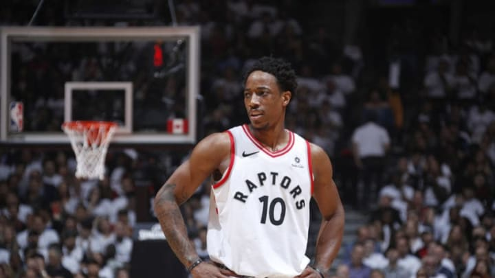 TORONTO, CANADA - MAY 3: DeMar DeRozan #10 of the Toronto Raptors looks on in Game Two of the Eastern Conference Semifinals against the Cleveland Cavaliers during the 2018 NBA Playoffs on May 3, 2018 at the Air Canada Centre in Toronto, Ontario, Canada. NOTE TO USER: User expressly acknowledges and agrees that, by downloading and/or using this photograph, user is consenting to the terms and conditions of the Getty Images License Agreement. Mandatory Copyright Notice: Copyright 2018 NBAE (Photo by Mark Blinch/NBAE via Getty Images)