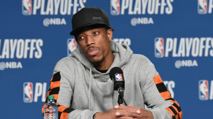 TORONTO, CANADA - MAY 3: DeMar DeRozan #10 of the Toronto Raptors talks to the media following Game Two of Round Two of the 2018 NBA Playoffs against the Cleveland Cavaliers on May 3, 2018 at the Air Canada Centre in Toronto, Ontario, Canada. NOTE TO USER: User expressly acknowledges and agrees that, by downloading and or using this Photograph, user is consenting to the terms and conditions of the Getty Images License Agreement. Mandatory Copyright Notice: Copyright 2018 NBAE (Photo by Ron Turenne/NBAE via Getty Images)