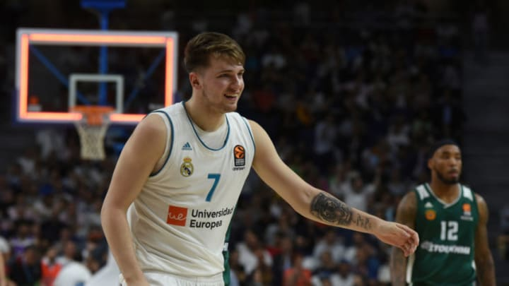 WIZINK CENTER, MADRID, SPAIN - 2018/04/25: Luka Doncic, #7 of Real Madrid gestures during the 2017/2018 Turkish Airlines Euroleague Play Offs Game 3 between Real Madrid and Panathinaikos Superfoods Athens at WiZink center in Madrid. (Photo by Jorge Sanz/Pacific Press/LightRocket via Getty Images)