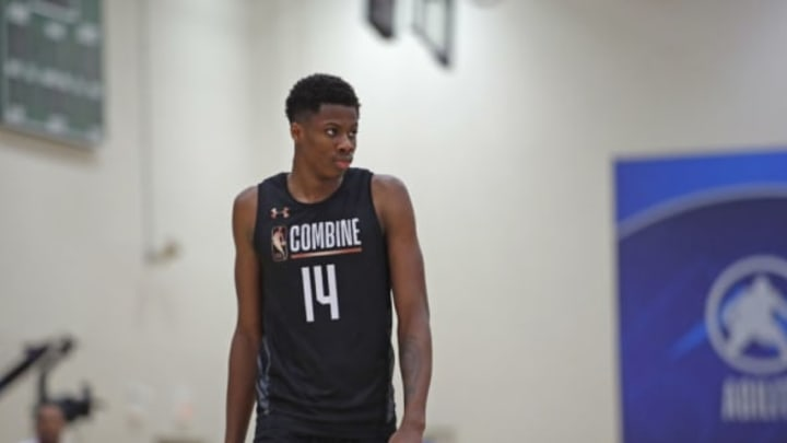 CHICAGO, IL – MAY 17: Kostas Antetokounmpo #14 looks on during the NBA Draft Combine Day 1 at the Quest Multisport Center on May 17, 2018 in Chicago, Illinois. NOTE TO USER: User expressly acknowledges and agrees that, by downloading and/or using this Photograph, user is consenting to the terms and conditions of the Getty Images License Agreement. Mandatory Copyright Notice: Copyright 2018 NBAE (Photo by Jeff Haynes/NBAE via Getty Images)