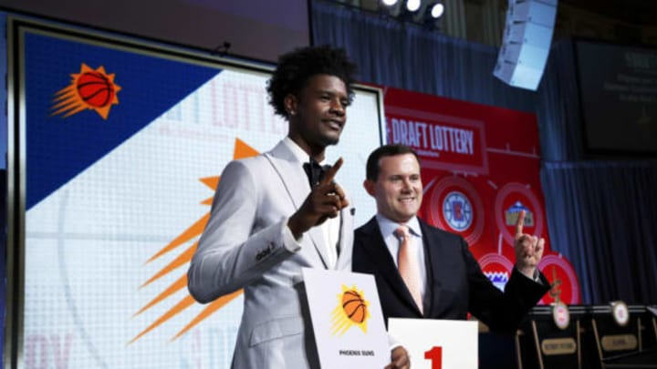 CHICAGO – MAY 15: Josh Jackson #20 of the Phoenix Suns and General Manager of the Phoenix Suns, Ryan McDonough pose for a photo after getting the number one pick in the 2018 NBA Draft during the 2018 NBA Draft Lottery at the Palmer House Hotel on May 15, 2018 in Chicago Illinois. NOTE TO USER: User expressly acknowledges and agrees that, by downloading and/or using this photograph, user is consenting to the terms and conditions of the Getty Images License Agreement. Mandatory Copyright Notice: Copyright 2018 NBAE (Photo by Jeff Haynes/NBAE via Getty Images)
