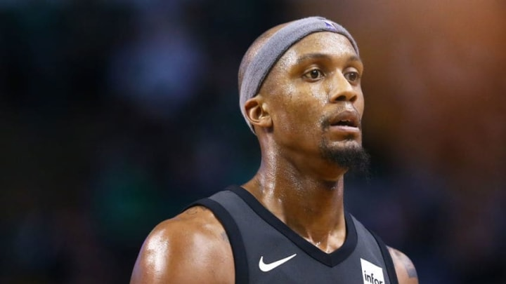BOSTON, MA - APRIL 11: Dante Cunningham #44 of the Brooklyn Nets looks on during a game against the Boston Celtics at TD Garden on April 11, 2018 in Boston, Massachusetts. NOTE TO USER: User expressly acknowledges and agrees that, by downloading and or using this photograph, User is consenting to the terms and conditions of the Getty Images License Agreement. (Photo by Adam Glanzman/Getty Images)