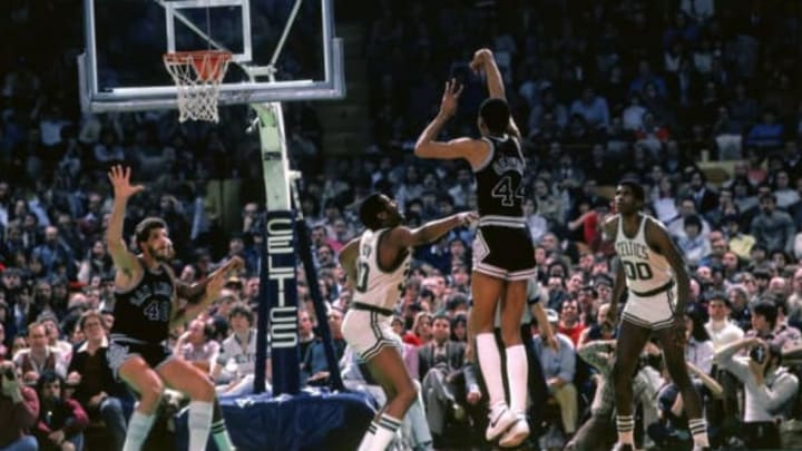 BOSTON – 1982: George Gervin #44 of the San Antonio Spurs shoots a jump shot (Photo by Dick Raphael/NBAE via Getty Images)