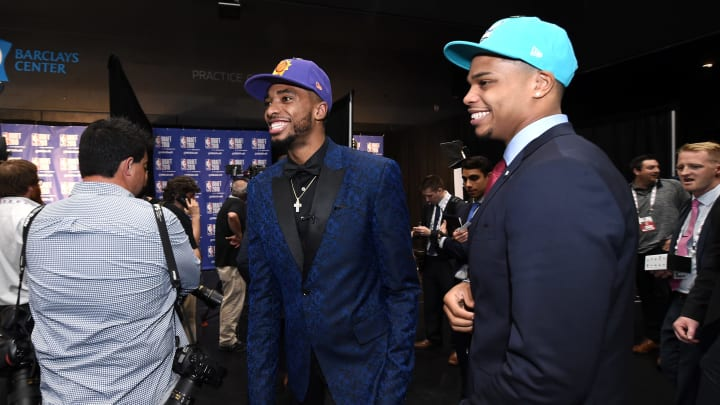 BROOKLYN, NY- JUNE 21: Mikal Bridges, number ten overall selection is photographed with Miles Bridges, number twelve overall selection during the 2018 NBA Draft (Photo by Mike Lawrence/NBAE via Getty Images)