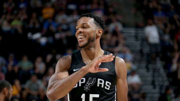 SALT LAKE CITY, UT - JULY 3: Jaron Blossomgame #15 of the San Antonio Spurs looks on during the game against the Atlanta Hawks on July 3, 2018 at Vivint Smart Home Arena in Salt Lake City, Utah. NOTE TO USER: User expressly acknowledges and agrees that, by downloading and or using this Photograph, User is consenting to the terms and conditions of the Getty Images License Agreement. Mandatory Copyright Notice: Copyright 2018 NBAE (Photo by Melissa Majchrzak/NBAE via Getty Images)