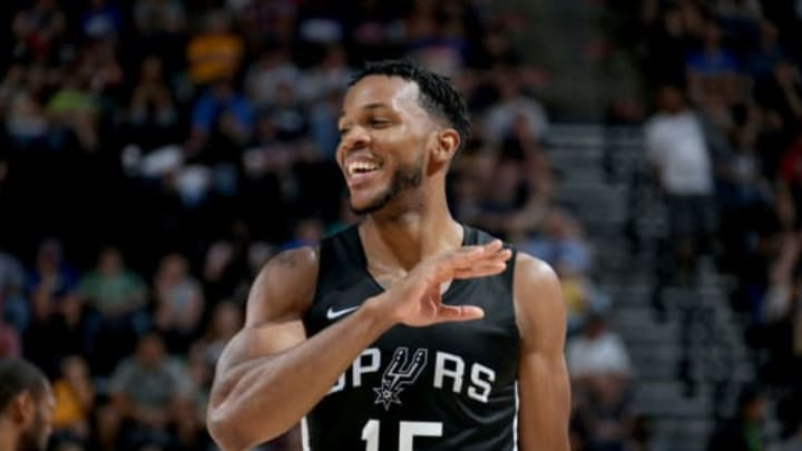 SALT LAKE CITY, UT – JULY 3: Jaron Blossomgame #15 of the San Antonio Spurs looks on during the game against the Atlanta Hawks on July 3, 2018 at Vivint Smart Home Arena in Salt Lake City, Utah. NOTE TO USER: User expressly acknowledges and agrees that, by downloading and or using this Photograph, User is consenting to the terms and conditions of the Getty Images License Agreement. Mandatory Copyright Notice: Copyright 2018 NBAE (Photo by Melissa Majchrzak/NBAE via Getty Images)