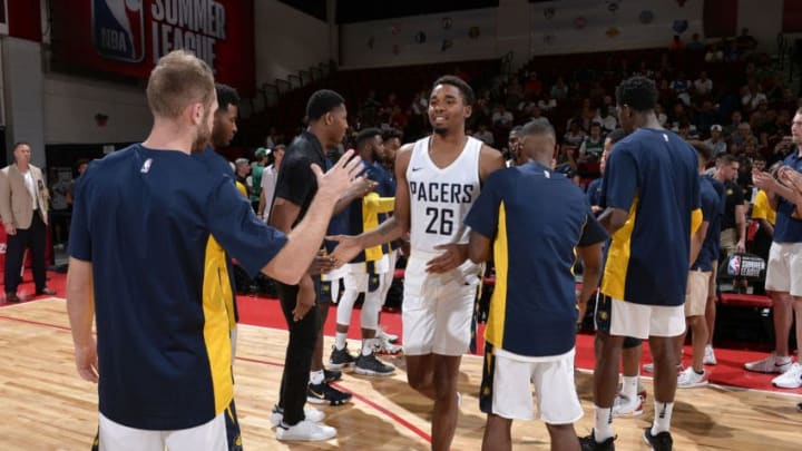 LAS VEGAS, NV - JULY 6: Ben Moore #26 of the Indiana Pacers is introduced before the game against the Houston Rockets during the 2018 Las Vegas Summer League on July 6, 2018 at the Cox Pavilion in Las Vegas, Nevada. NOTE TO USER: User expressly acknowledges and agrees that, by downloading and/or using this photograph, user is consenting to the terms and conditions of the Getty Images License Agreement. Mandatory Copyright Notice: Copyright 2018 NBAE (Photo by David Dow/NBAE via Getty Images)